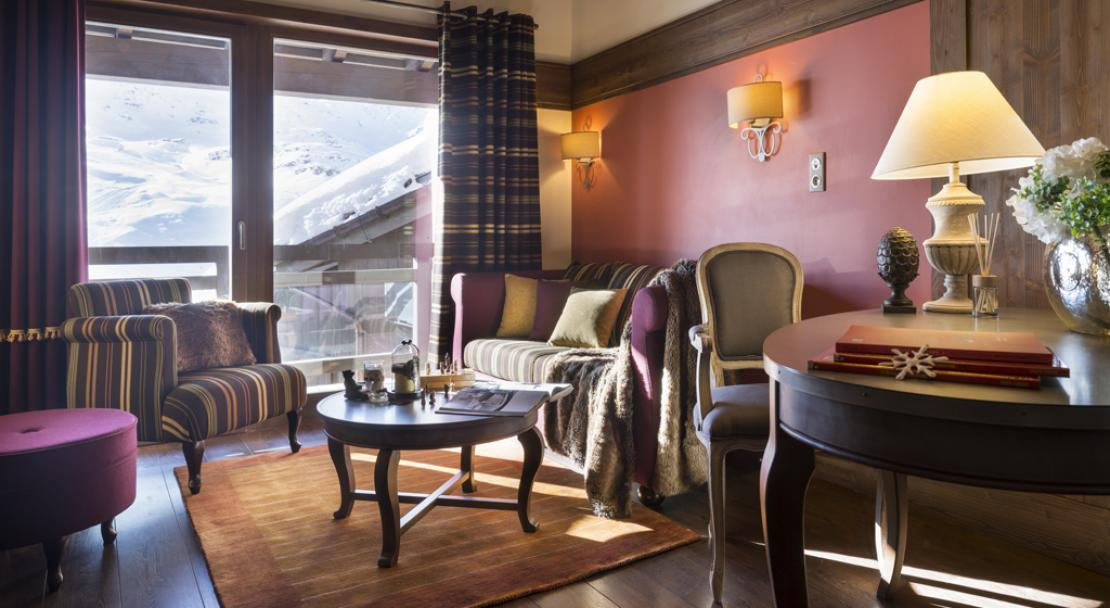 Living area in Le Hameau du Kashmir Val Thorens