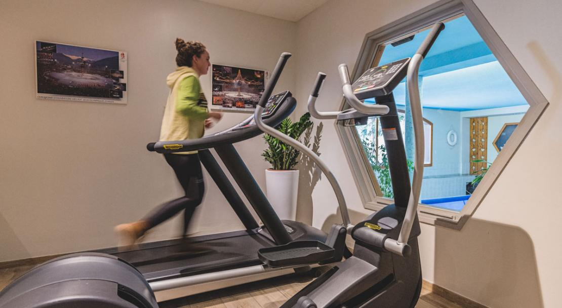 Gym exercise work out room treadmill Hotel Les Arolles Meribel Mottaret