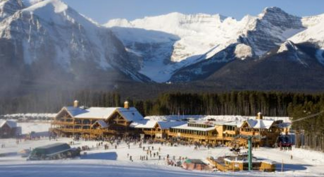 The base area of Lake Louise; Copyright: Lake Louise Ski Area Mates.  Photo courtesy of the Lake Louise Ski Area