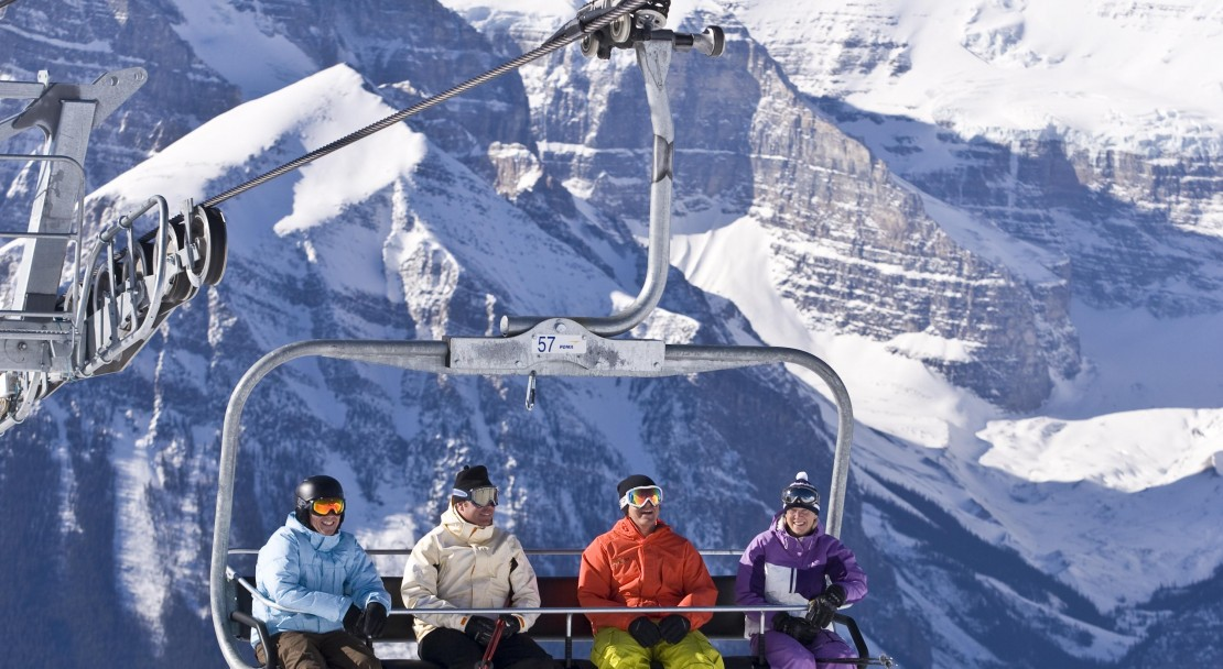 On the first chair up to the Lake Louise slopes; Copyright: Lake Louise Ski Area Mates.  Photo courtesy of the Lake Louise Ski Area