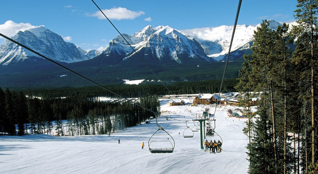 Grab the first chair up to the slopes of Lake Louise; Copyright: Lake Louise Ski Area Mates.  Photo courtesy of the Lake Louise Ski Area