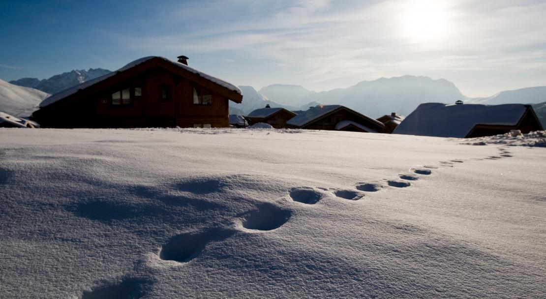 Tracks in the snow in Alpe d'Huez