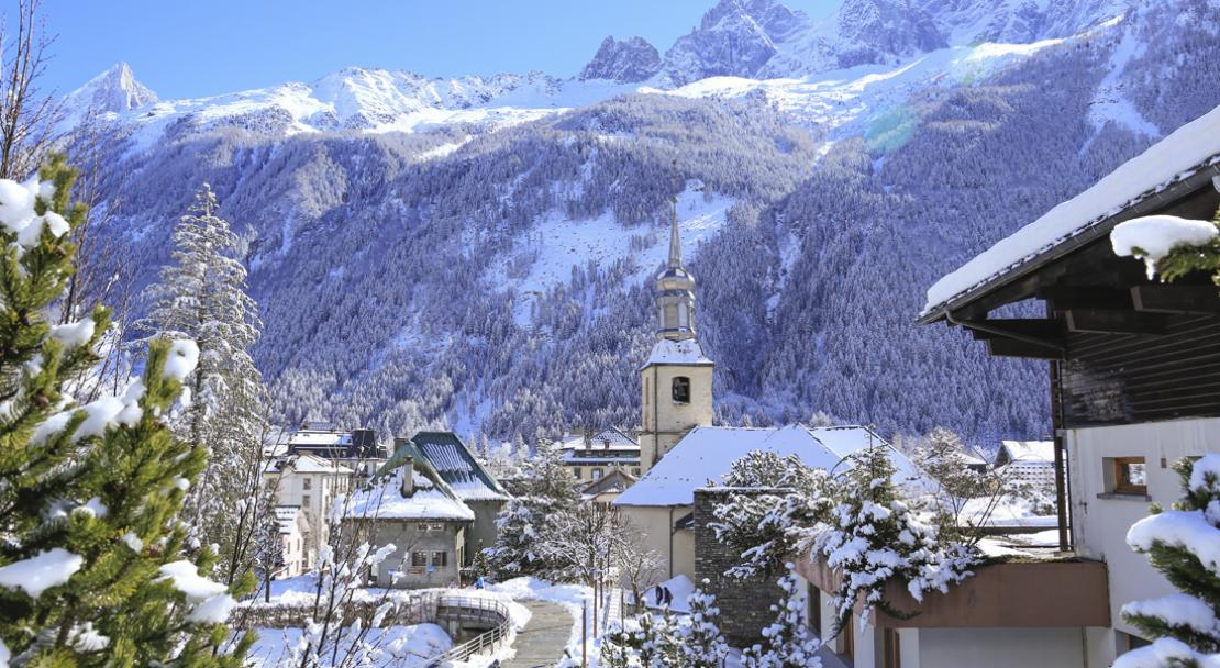 A snowy church in beautiful Chamonix; Copyright: Monica Dalmasso
