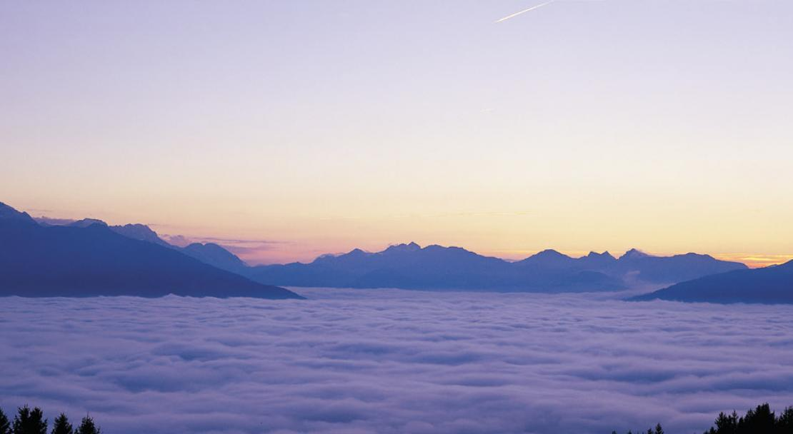 Above the clouds in the ski resort of Villars
