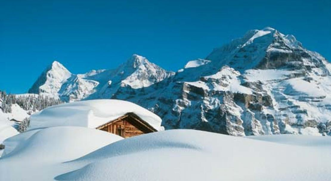Lots of snow in Murren, Switzerland