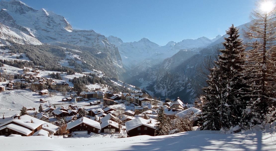 The sun shining on Murren, Switzerland