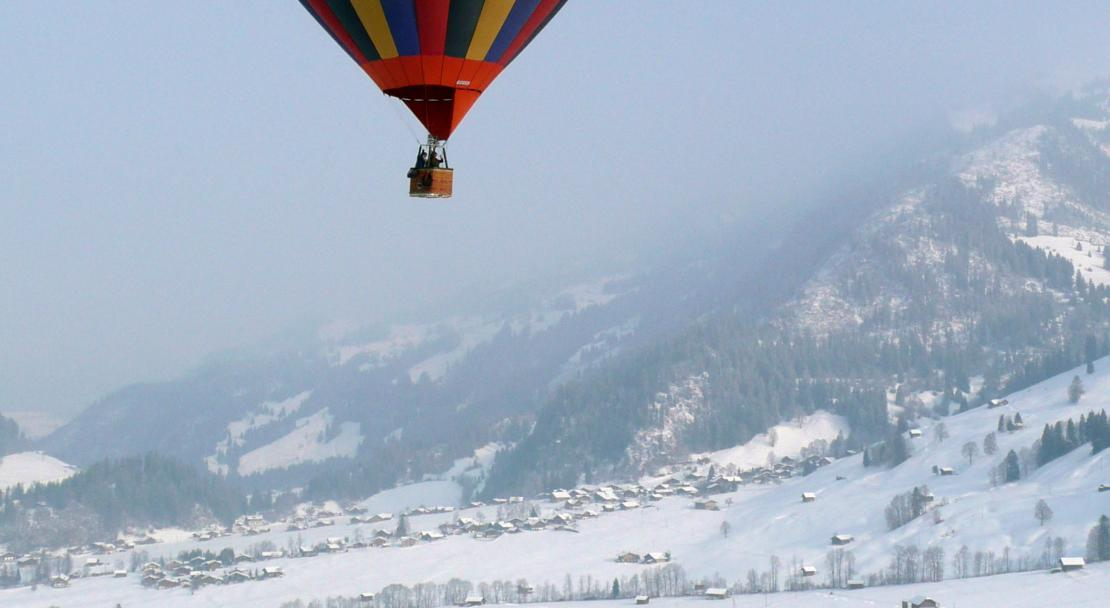 Hot air ballooning over Gstaad