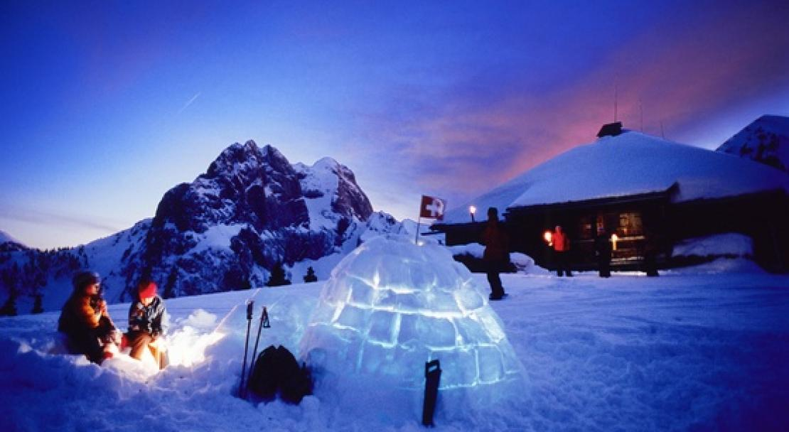 The ski resort of Gstaad as sun begins to set