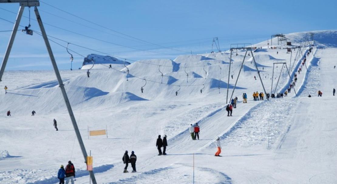 The snowpark on the glacier in Gstaad