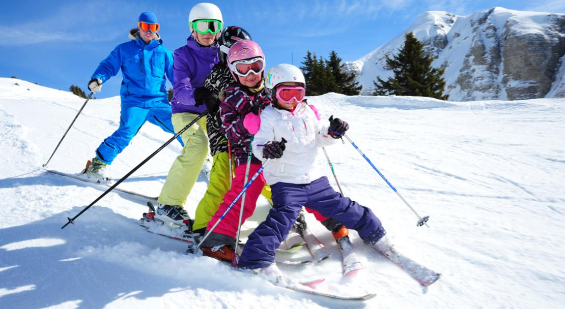 Family skiing in Chatel; Copyright: Thiebaut
