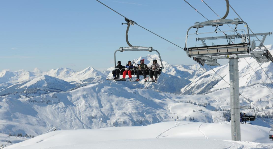 Skiers on a chairlift in Chatel; Copyright: JF Vuarand