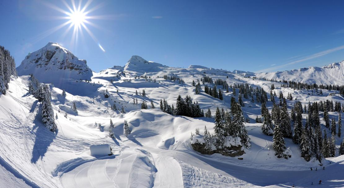 Sunny and snowy skiing in Chatel; Copyright: JF Vuarand
