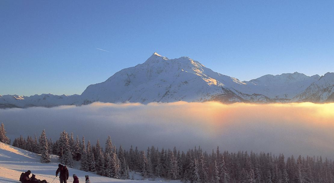 The quaint ski resort of La Rosiere, above the clouds in the Tarrentaise.