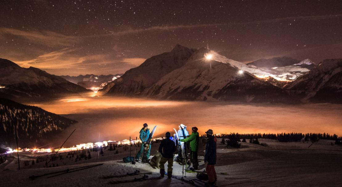 Skiing at night in La Rosiere; Copyright: Propaganda