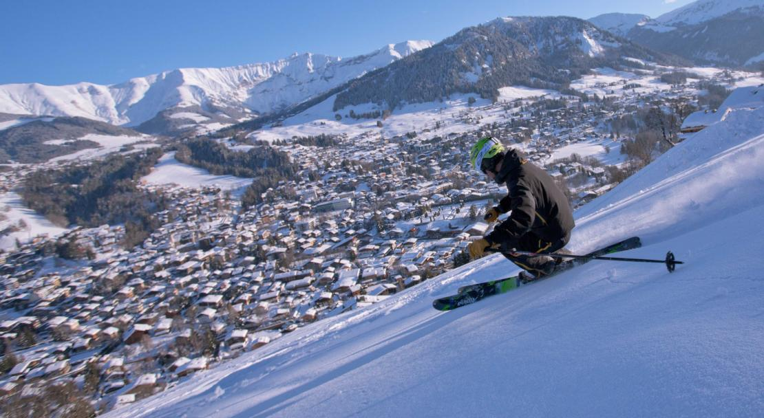 Skiing above the village of Megeve