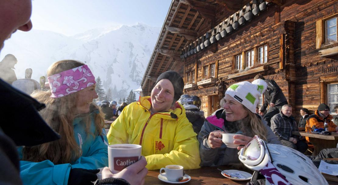 Ejoying a hot drink in Adelboden