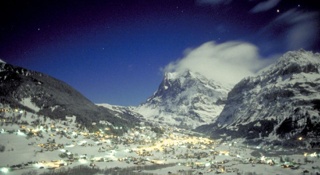 Grindelwald village at night