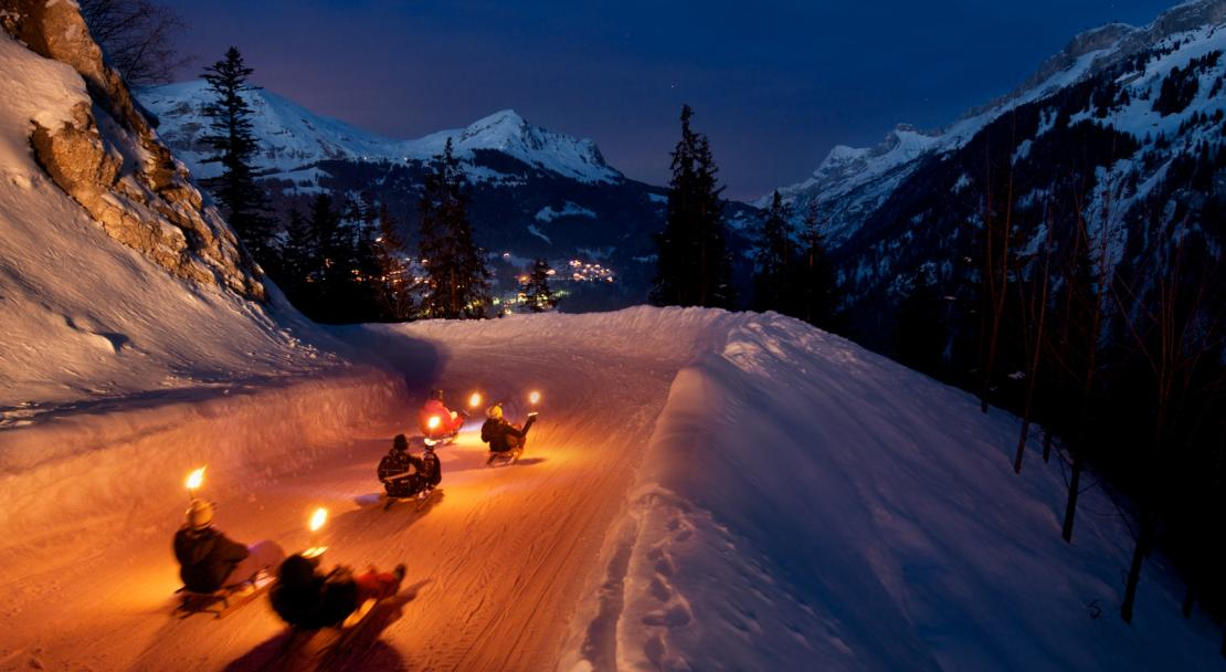 Night time sledging in Les Diablerets