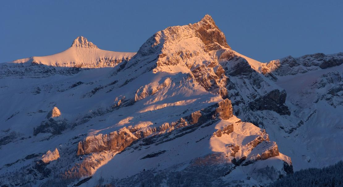 Sunset on the Mountains in Les Diablerets