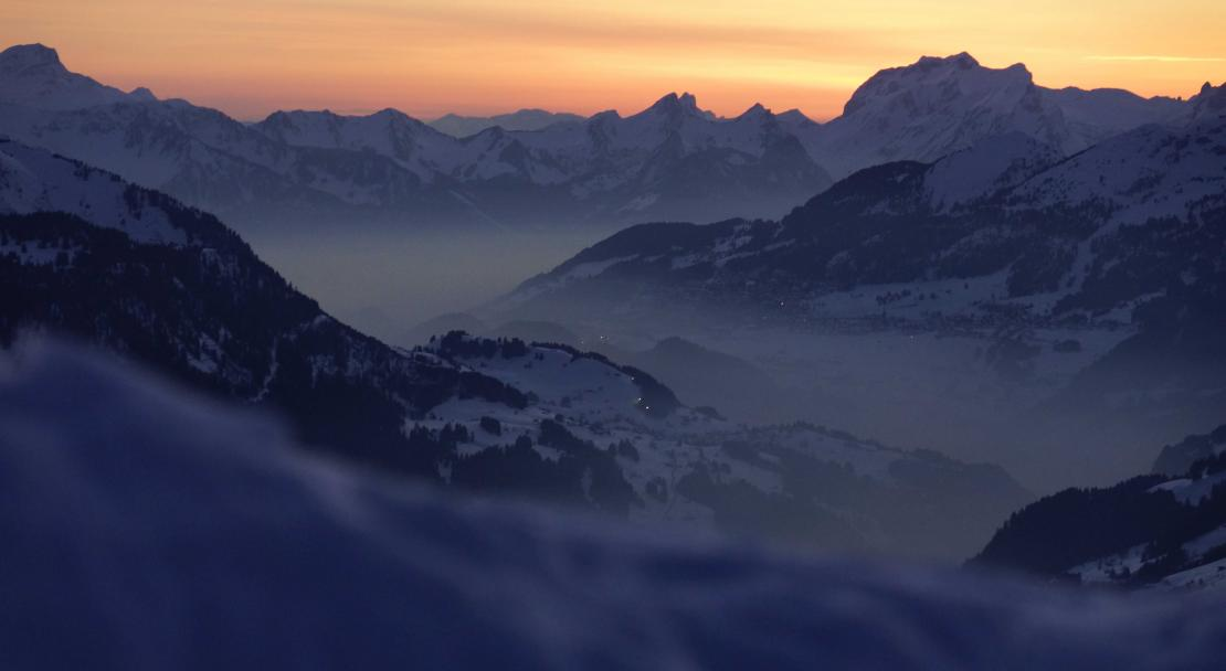 Sunset over the valley in Les Diablerets