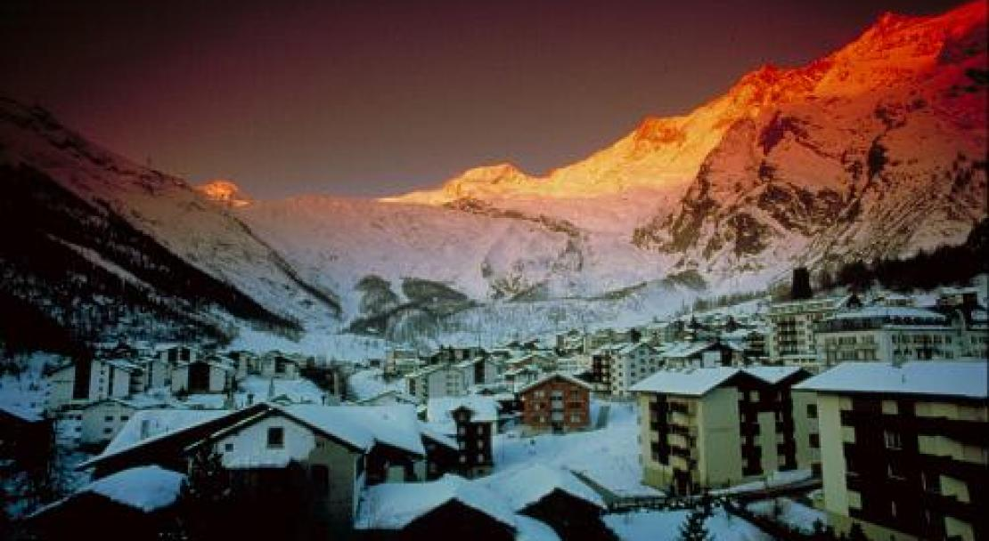 Sunset over the village in Saas Fee