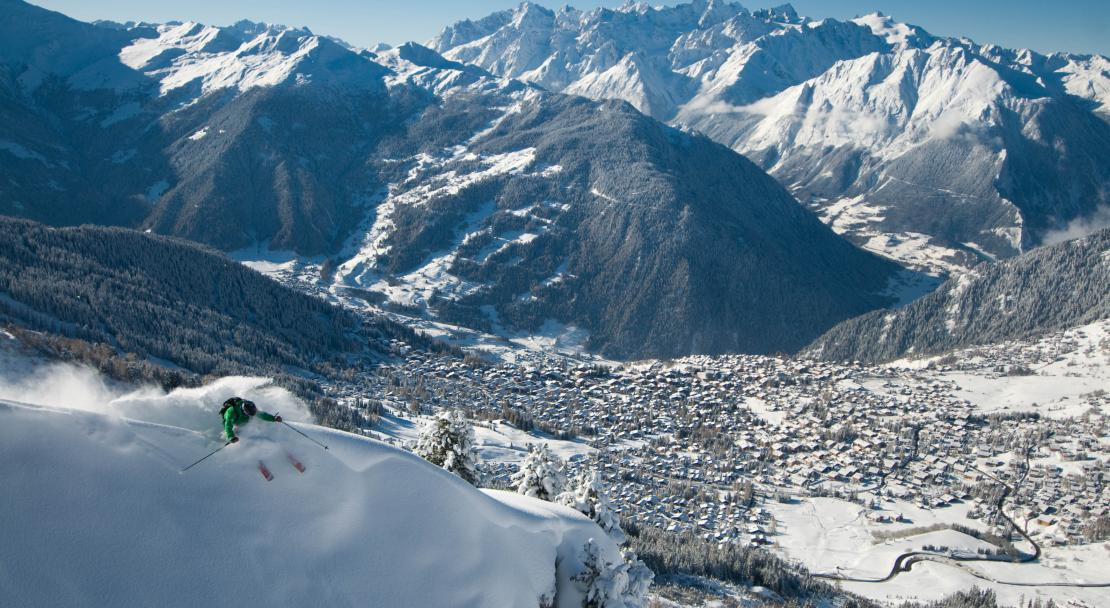 Skiing above Verbier village