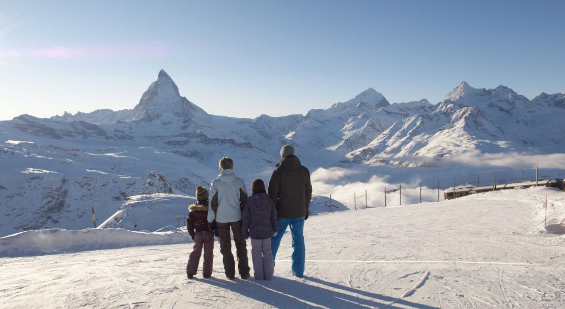 Family views the Matterhorn in Zermatt