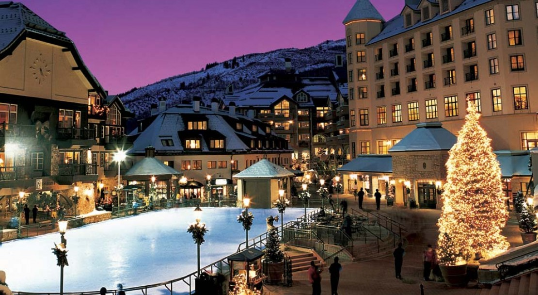 Beaver Creek Ski Resort Ice Rink Twilight