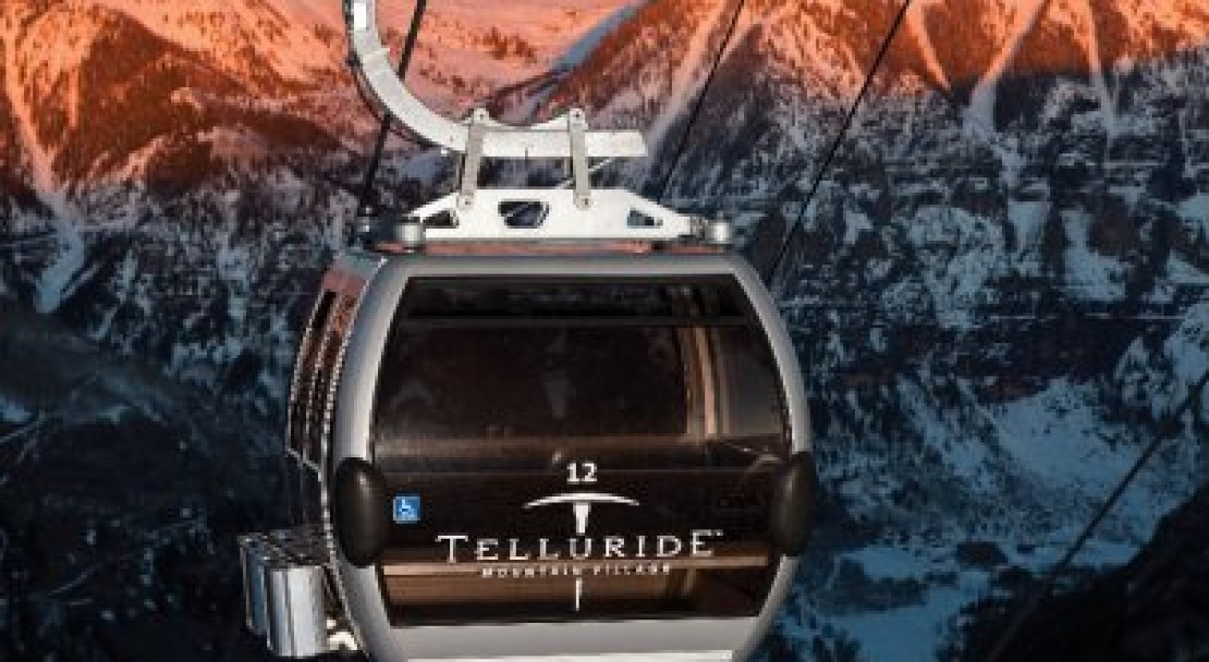 The gondola in the sunset; Copyright: Ben Eng - Telluride Tourist Office