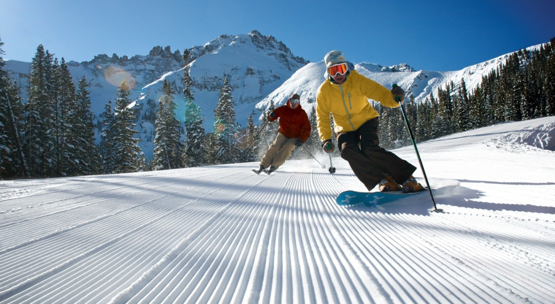 Skiing on perfect corduroy in Telluride; Copyright: G Guscriora - Telluride Tourist Board