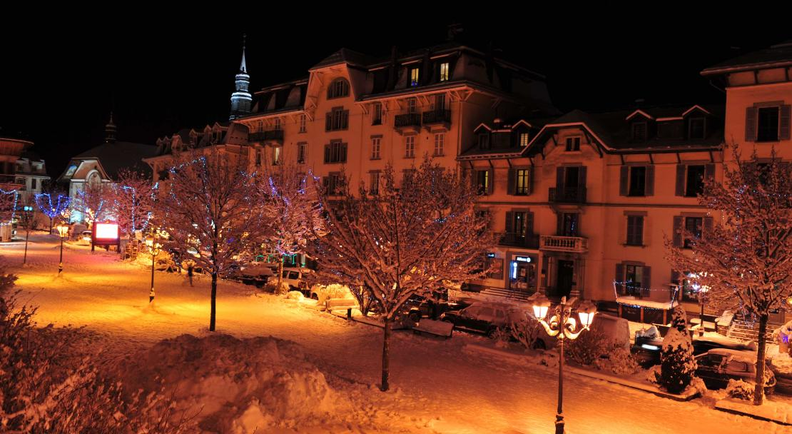 Saint Gervais town at night