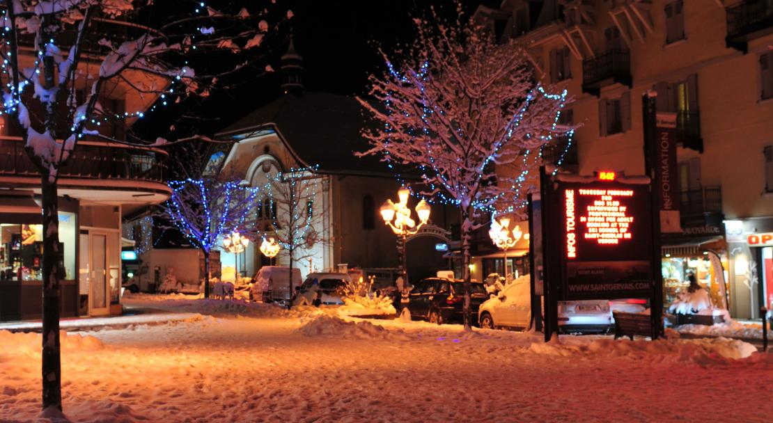 Saint Gervais village at night