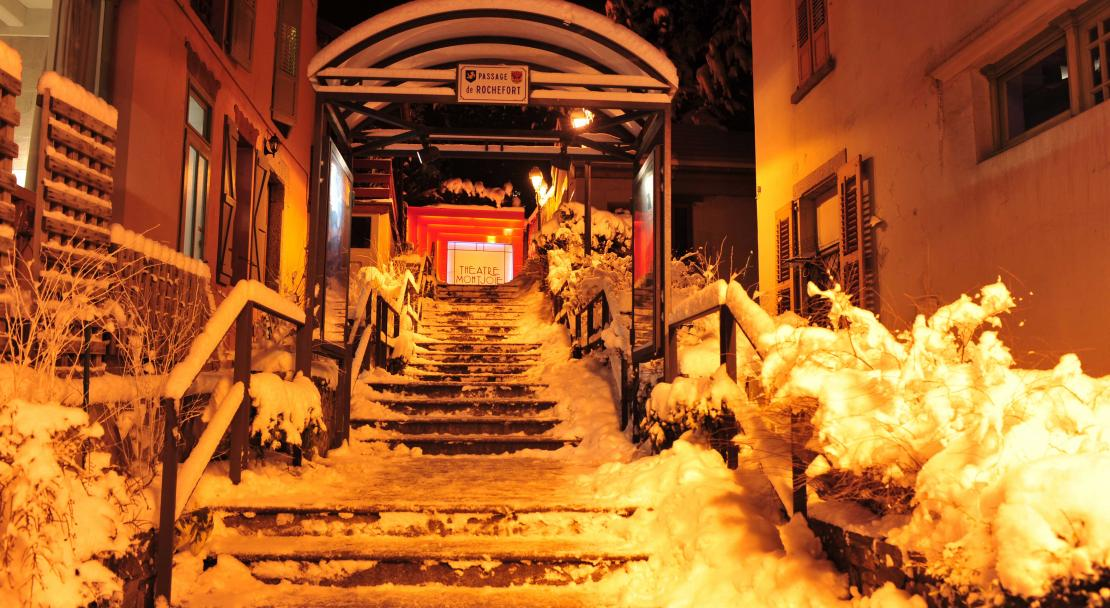 Snow covered stairs in Saint Gervais