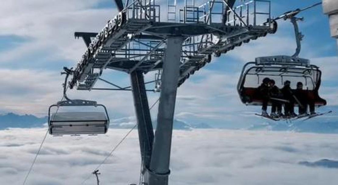Chairlift above the clouds in Films Laax