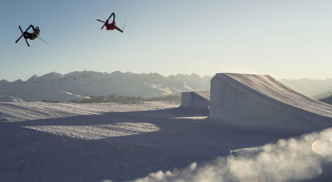 Terrain park at sunset in Films Laax