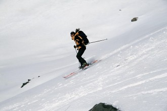 Laurence ski touring in Val Thorens