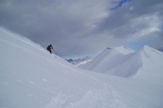 Chris on a powder day at Les Contamines, just up the road from St Gervais