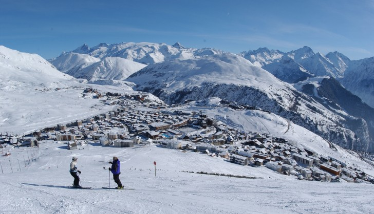 Views over Alpe d'Huez and the Grand Rousses ski area