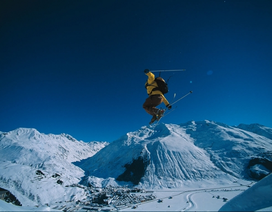 A skier takes to the air in Andermatt