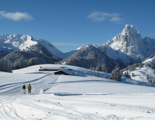 A cross country ski trail in Gstaad