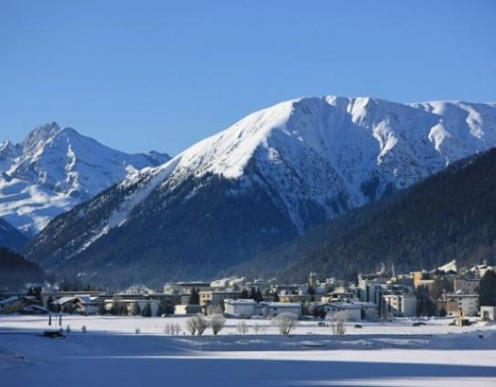 The resort of Kloster, a traditional village surrounded by a fantastic ski area.