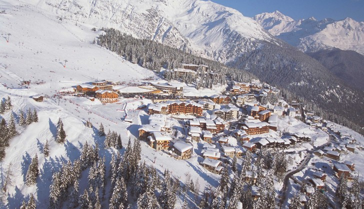 The scenic ski resort of La Rosiere from above.