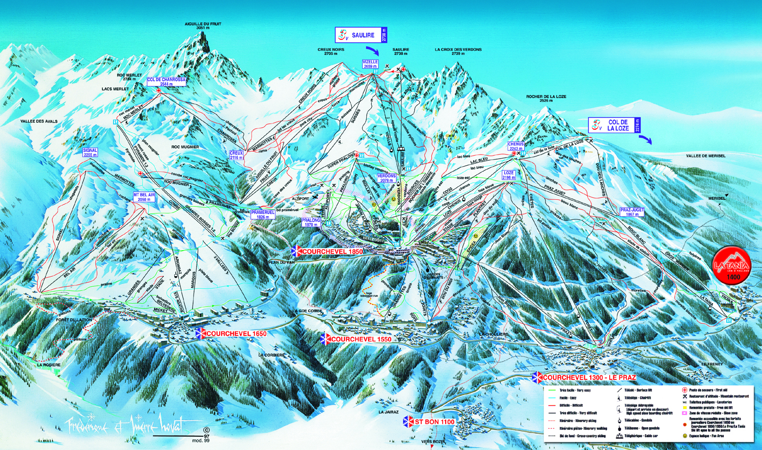 La Tania Piste Maps and Ski Resort Map PowderBeds