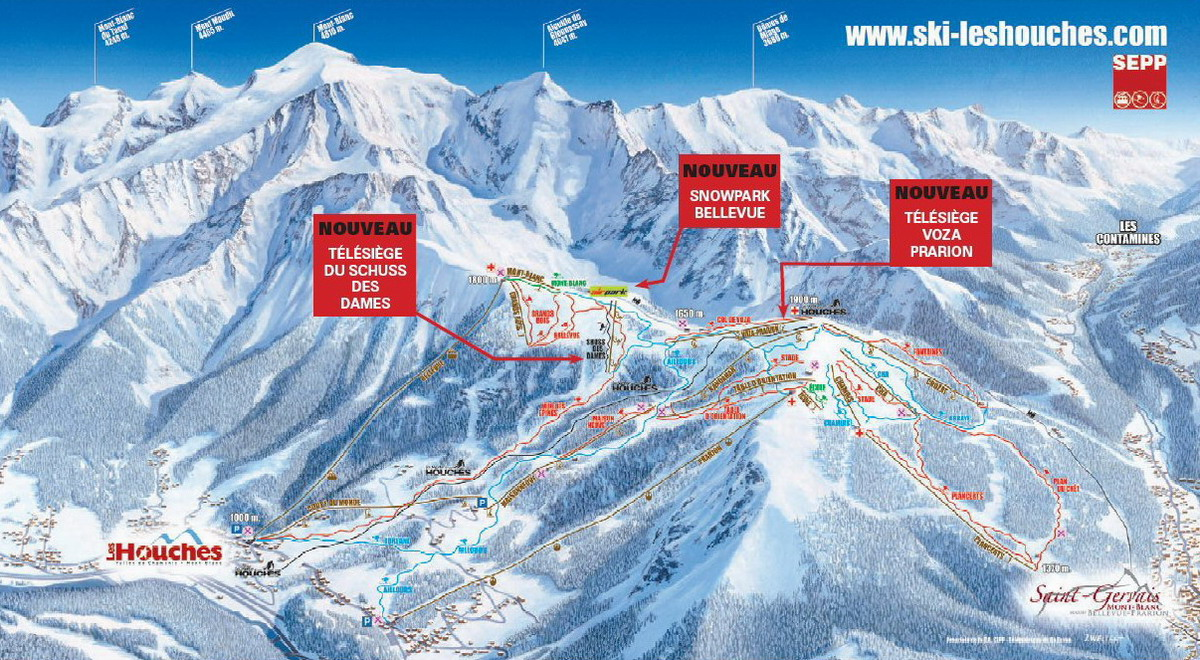 Les Houches Piste Maps and Ski Resort Map PowderBeds