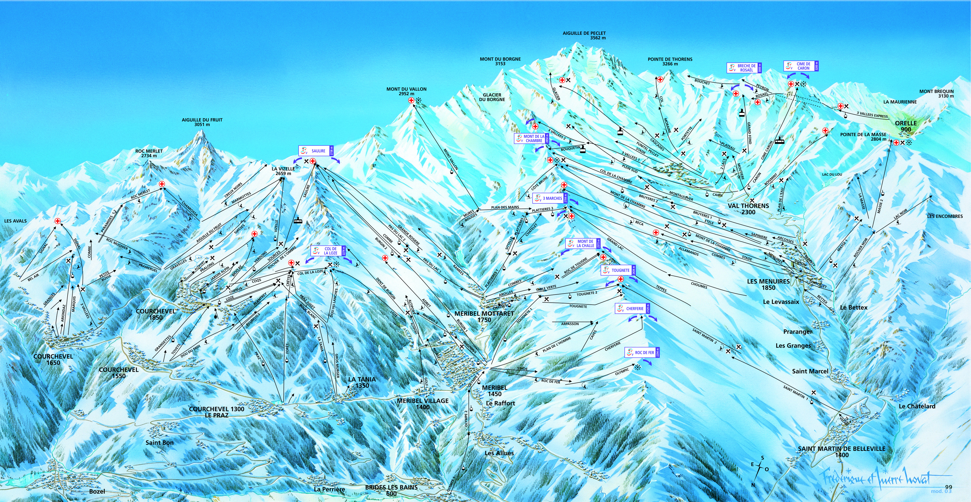 Meribel Ski Map Meribel Piste Maps and Ski Resort Map | PowderBeds Meribel Ski Map