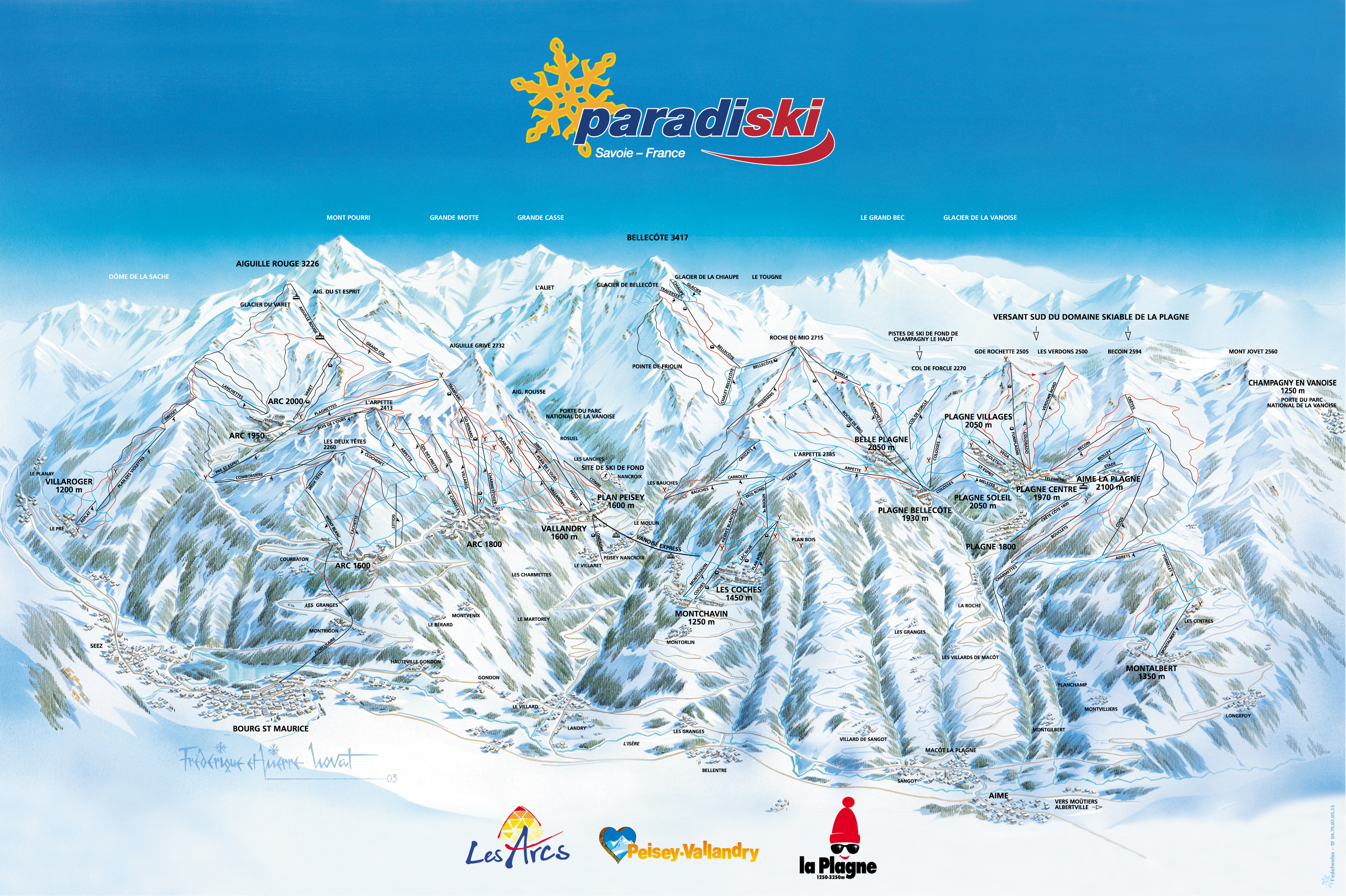 Peisey Vallandry Piste Maps and Ski Resort Map PowderBeds