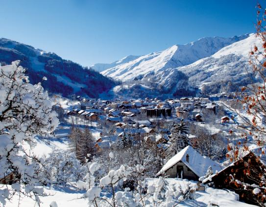 Valloire, nestled into the mountains