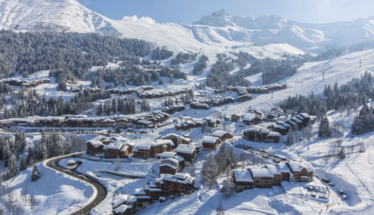 Valmorel, set into the mountains at the foot of the slopes