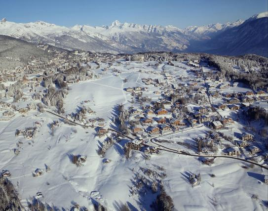 Crans Montana from above after fresh snowfall.