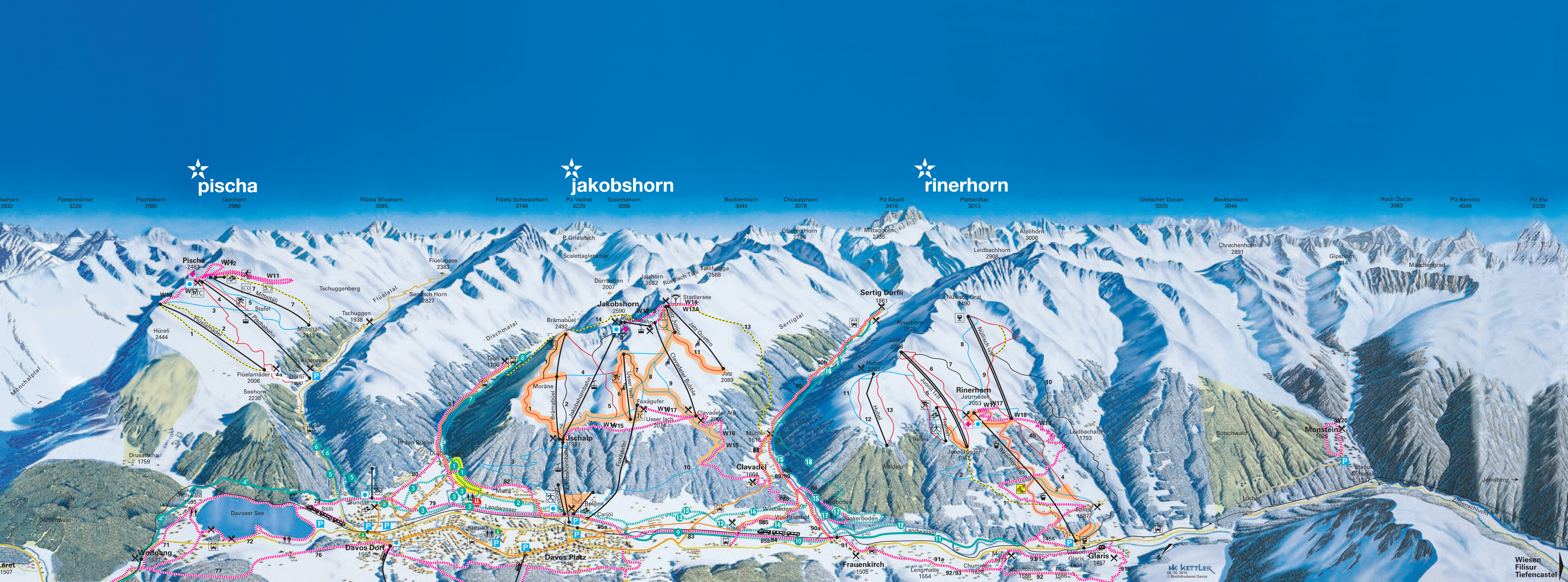 Davos Piste Maps and Ski Resort Map PowderBeds